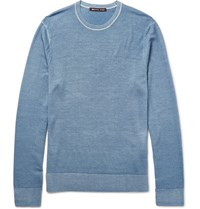 Michael Kors Slim Fit Washed Merino Wool Sweater Blue