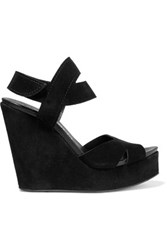Pedro Garcia Teilor Suede Wedge Sandals Black