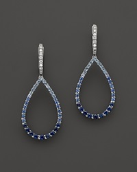 Bloomingdale's Sapphire And Diamond Ombre Teardrop Earrings In 14K White Gold White Blue