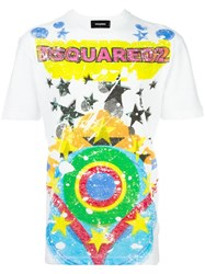 Dsquared2 Splatter Star Print T Shirt White