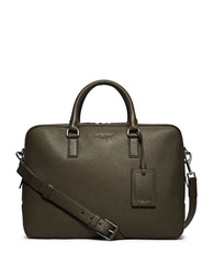 Michael Kors Bryant Leather Briefcase Green