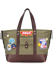Dsquared2 Dsq2 Patch Tote Bag Cotton Leather Green