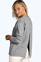 Boohoo Zip Back Jumper Grey