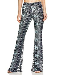 Vintage Havana Floral Print Bell Bottom Pants Black White