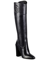 Guess Women's Dalen Tall High Heel Boots Women's Shoes Black Leather