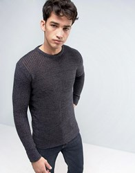 Brave Soul Mens Crew Neck Knitted Jumper With Beehive Knit Black