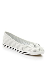 Marc Jacobs Perforated Leather Mouse Ballet Flats Talc