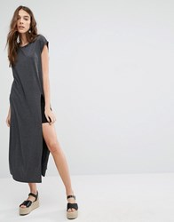 Brave Soul T Shirt Maxi Dress With Split Charcoal Marl Grey