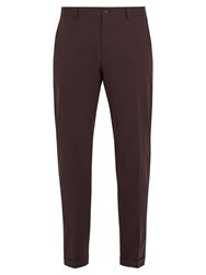 Dolce And Gabbana Slim Leg Stretch Cotton Chino Trousers Burgundy