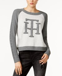 Tommy Hilfiger Cable Knit Graphic Sweater Only At Macy's Charcoal Grey