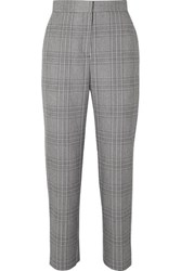 Maje Checked Woven Tapered Pants Gray