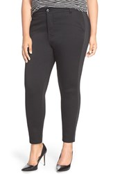 Plus Size Women's Melissa Mccarthy Seven7 Tuxedo Stripe Stretch Slim Ankle Jeans Black