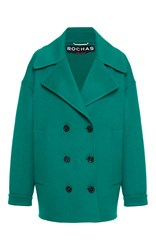 Rochas Double Breasted Pea Coat Green