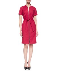 Lafayette 148 New York Hathaway Belted Zip Front Dress Snap Dragon