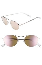 Kendall Kylie Tasha 49Mm Oval Sunglasses White Metal Rose Gold Mirror White Metal Rose Gold Mirror