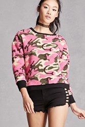 Forever 21 Fuzzy Fleece Camo Sweater Pink