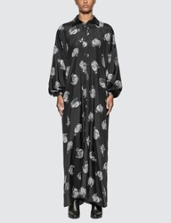 Lanvin Logo Print Long Dress Black