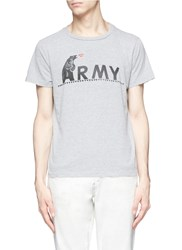 Remi Relief 'Army' Bear Print T Shirt Grey