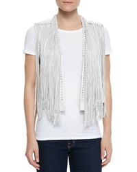 Lamarque Brittany Leather Fringe Vest White