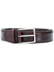 Canali Perforated Detail Belt Red