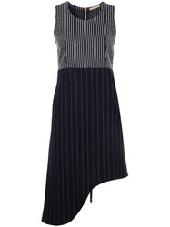 Nehera Pinstripe Asymmetric Sleeveless Dress Polyamide Virgin Wool Black