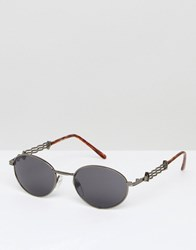 Reclaimed Vintage Inspired Round Sunglasses In Silver Silver