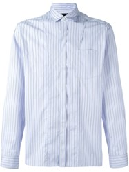 Lanvin Striped Chest Pocket Shirt Blue