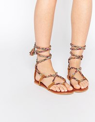 Asos First Time Tie Leg Flat Sandals Multi