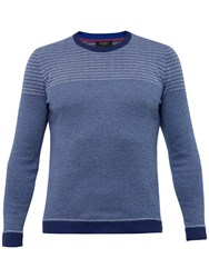 Ted Baker Dynamo Striped Crew Neck Jumper Navy