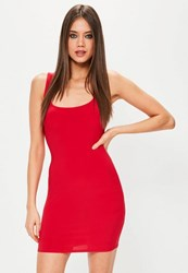 Missguided Red Square Neck Bodycon Dress