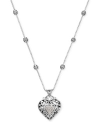Macy's Diamond Vintage Heart Pendant Necklace In Sterling Silver 1 4 Ct. T.W.
