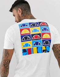 Ellesse Fondato T Shirt With Back Print In White