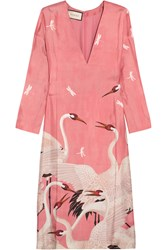 Gucci Printed Silk Twill Dress Pink