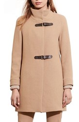 Lauren Ralph Lauren Women's Funnel Neck Wool Coat Camel