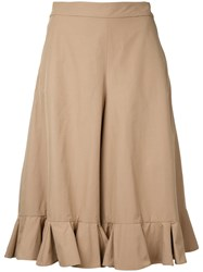 Muveil Cropped Trousers Women Cotton Polyester 38 Nude Neutrals