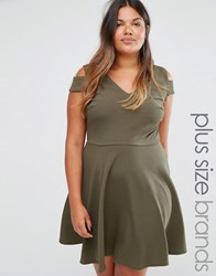 Club L Plus Skater Dress With Cold Shoulder Khaki Green