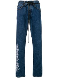 Off White Graphic Detail Dart Jeans Blue