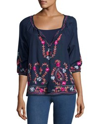 Saffire Tapestry Floral Embroidered Shirt Navy