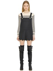 Red Valentino Scalloped Bonded Wool Cloth Overalls