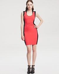 Kenneth Cole New York Helice Color Block Ruched Dress Guava Black