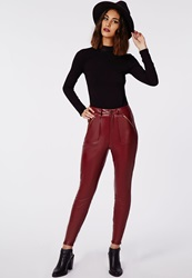 Missguided Agnes Faux Leather Zip Detail Skinny Trousers Oxblood Red