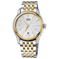 Oris 01 733 7670 4351 07 8 21 78 Men's Artelier Automatic Two Tone Bracelet Strap Watch Silver Gold