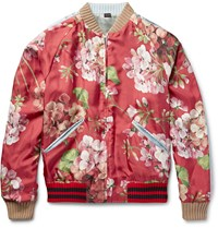 Gucci Reversible Geranium Print Silk Twill Bomber Jacket Red