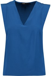 Maje Quilted Silk Chiffon Top Blue