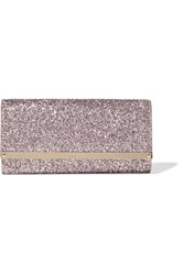 Jimmy Choo Milla Glittered Leather Clutch Pink