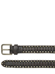 Dolce And Gabbana 25Mm Studded Vintage Leather Belt Brown