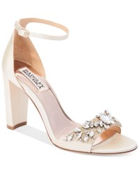Badgley Mischka Barby Ankle Strap Evening Sandals Women's Shoes Ivory