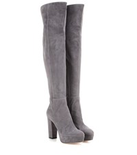 Gianvito Rossi Temple Suede Over The Knee Platform Boots Grey