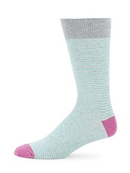 Saks Fifth Avenue Striped Knitted Socks Aqua