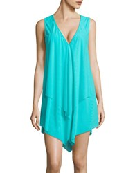 Coco Reef Asymmetrical Tiered Cover Up Dress Blue
